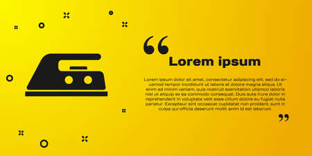 Black Electric iron icon isolated on yellow background. Steam iron. Vector Illustration Vecteurs