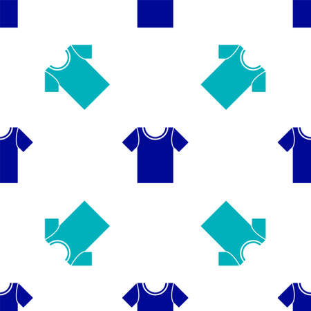 Blue T-shirt icon isolated seamless pattern on white background. Vector Illustration