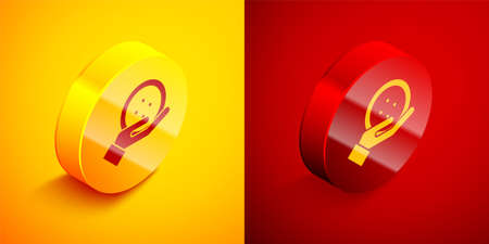 Isometric Sewing button for clothes icon isolated on orange and red background. Clothing button. Circle button. Vector Illustration