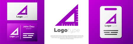 Logotype Triangular ruler icon isolated on white background. Straightedge symbol. Geometric symbol. Vettoriali