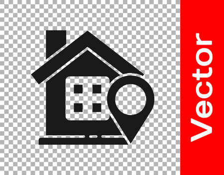 Black Map pointer with house icon isolated on transparent background. Home location marker symbol. Vector Illustration