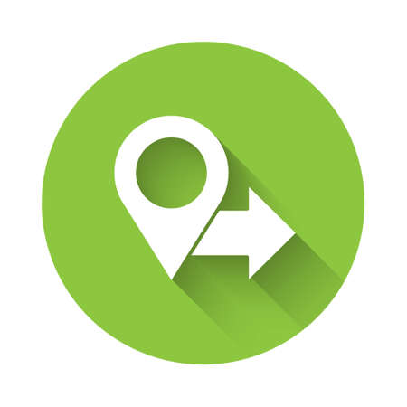 White Map pin icon isolated with long shadow. Navigation, pointer, location, map, gps, direction, place, compass, search concept. Green circle button. Vector