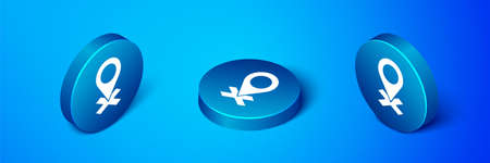Isometric Map pin icon isolated on blue background. Navigation, pointer, location, map, gps, direction, place, compass, search concept. Blue circle button. Vector