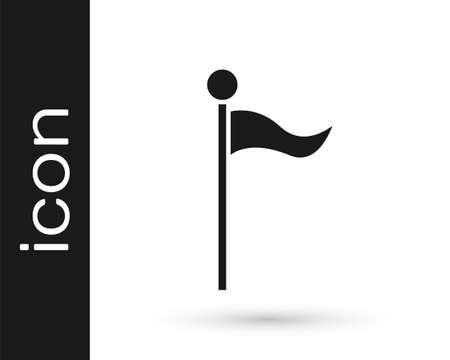 Grey Flag icon isolated on white background. Location marker symbol. Vector Illustration