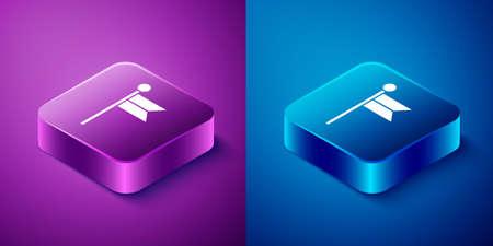 Isometric Flag icon isolated on blue and purple background. Location marker symbol. Square button. Vector Illustration Ilustração