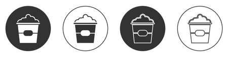 Black Popcorn in cardboard box icon isolated on white background. Popcorn bucket box. Circle button. Vector Illustration 일러스트