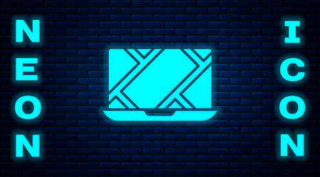 Glowing neon Infographic of city map navigation icon isolated on brick wall background. Laptop App Interface concept design. Geolocation concept. Vector Illustration Ilustração