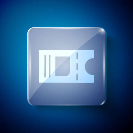 White Cinema ticket icon isolated on blue background. Square glass panels. Vector Illustration