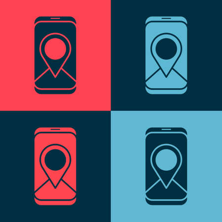 Pop art Infographic of city map navigation icon isolated on color background. Mobile App Interface concept design. Geolacation concept. Vector Illustration