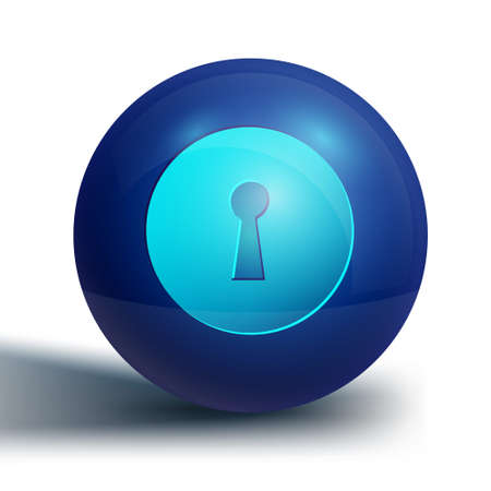 Blue Keyhole icon isolated on white background. Key of success solution. Keyhole express the concept of riddle, secret, security. Blue circle button. Vector Illustration 向量圖像