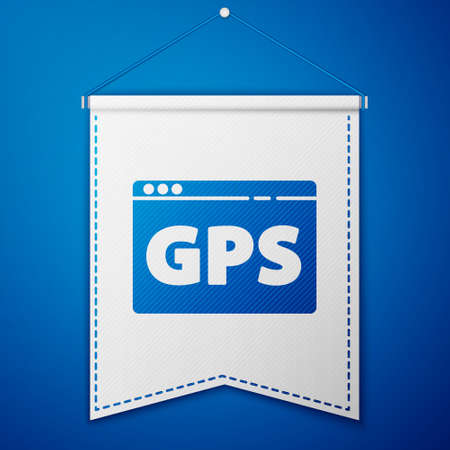 Blue Gps device with map icon isolated on blue background. White pennant template. Vector Illustration