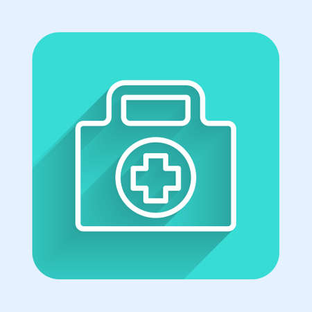 White line First aid kit icon isolated with long shadow. Medical box with cross. Medical equipment for emergency. Healthcare concept. Green square button. Vector Illustration