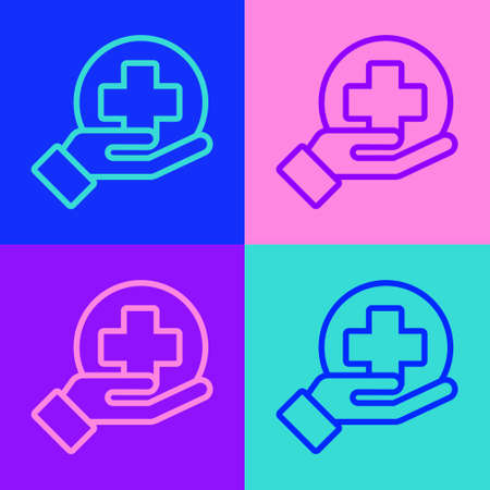 Pop art line Cross hospital medical icon isolated on color background. First aid. Diagnostics symbol. Medicine and pharmacy sign. Vector Illustration