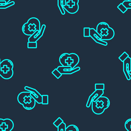 Green line Heart with a cross icon isolated seamless pattern on blue background. First aid. Healthcare, medical and pharmacy sign. Vector Illustration Illusztráció