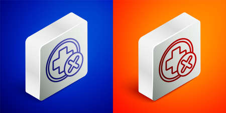 Isometric line Cross hospital medical icon isolated on blue and orange background. First aid. Diagnostics symbol. Medicine and pharmacy sign. Silver square button. Vector Illustration