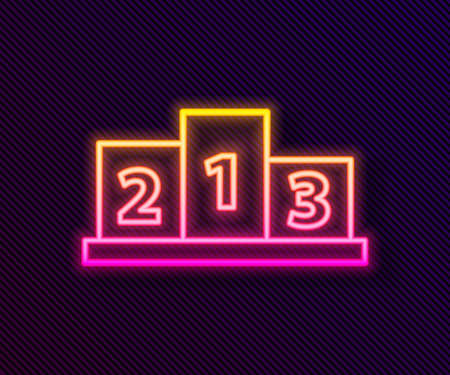 Glowing neon line Award over sports winner podium icon isolated on black background. Vector Illustration