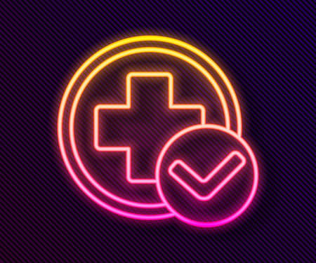 Glowing neon line Cross hospital medical icon isolated on black background. First aid. Diagnostics symbol. Medicine and pharmacy sign. Vector Illustration Illusztráció
