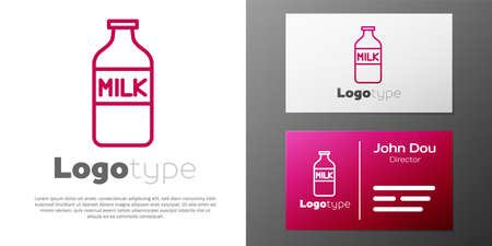 Logotype line Closed glass bottle with milk icon isolated on white background. 일러스트