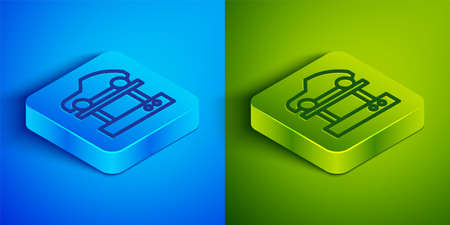 Isometric line Repair car on a lift icon isolated on blue and green background. Repair of the underbody, suspension, wheels and engine. Square button. Vector Illustration