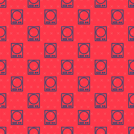Blue line Electronic scales icon isolated seamless pattern on red background. Weight measure equipment. Vector Illustration