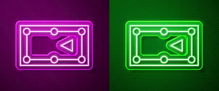 Glowing neon line Billiard table icon isolated on purple and green background. Pool table. Vector Illustration