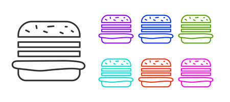 Black line Burger icon isolated on white background. Hamburger icon. Cheeseburger sandwich sign. Fast food menu. Set icons colorful. Vector Illustration