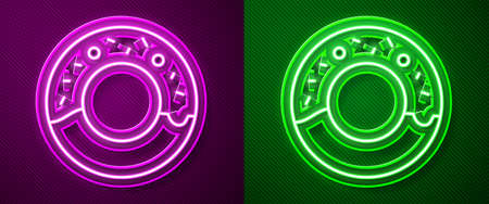 Glowing neon line Donut with sweet glaze icon isolated on purple and green background. Vector Illustration