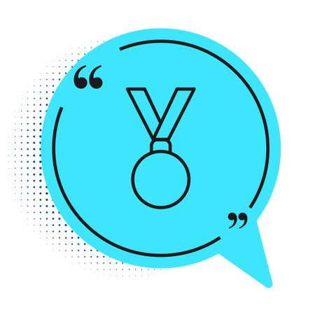 Black line Medal icon isolated on white background. Winner achievement sign. Award medal. Blue speech bubble symbol. Vector Illustration
