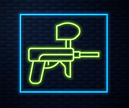 Glowing neon line Paintball gun icon isolated on brick wall background. Vector Illustration