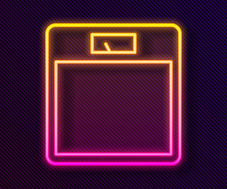 Glowing neon line Bathroom scales icon isolated on black background. Weight measure Equipment. Weight Scale fitness sport concept. Vector Illustration Ilustracja