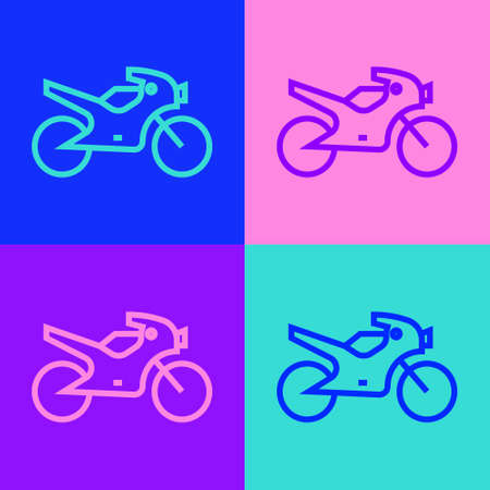 Pop art line Motorcycle icon isolated on color background. Vector Illustration Illustration