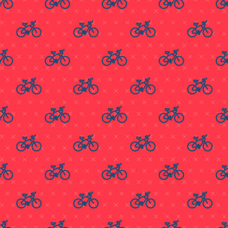 Blue line Bicycle icon isolated seamless pattern on red background. Bike race. Extreme sport. Sport equipment. Vector Illustration Illustration
