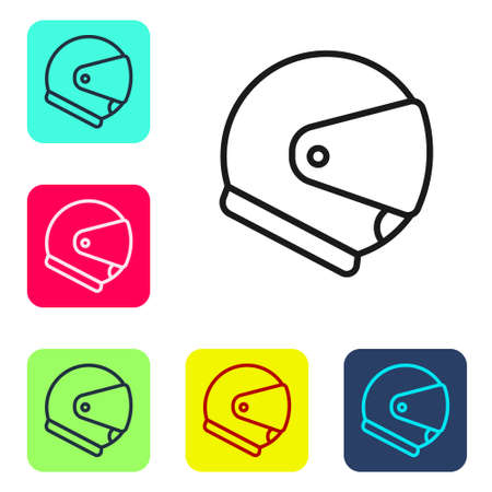Black line Helmet icon isolated on white background. Extreme sport. Sport equipment. Set icons in color square buttons. Vector Illustration