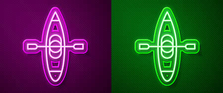 Glowing neon line Kayak and paddle icon isolated on purple and green background. Kayak and canoe for fishing and tourism. Outdoor activities. Vector Illustration