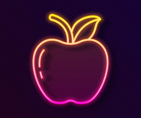 Glowing neon line Apple icon isolated on black background. Fruit with leaf symbol. Vector Illustration