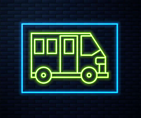 Glowing neon line School Bus icon isolated on brick wall background. Public transportation symbol. Vector Illustration