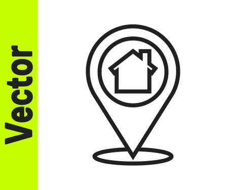 Black line Map pointer with house icon isolated on white background. Home location marker symbol. Vector Illustration