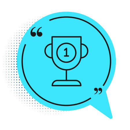 Black line Award cup icon isolated on white background. Winner trophy symbol. Championship or competition trophy. Sports achievement sign. Blue speech bubble symbol. Vector Illustration Illusztráció