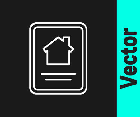 White line Online real estate house on tablet icon isolated on black background. Home loan concept, rent, buy, buying a property. Vector Illustration