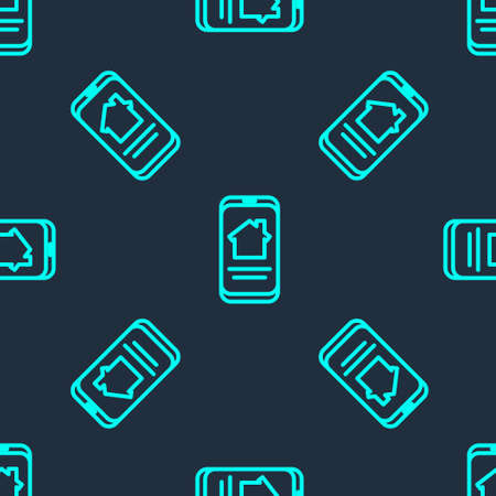 Green line Online real estate house on smartphone icon isolated seamless pattern on blue background. Home loan concept, rent, buy, buying a property. Vector Illustration Illustration
