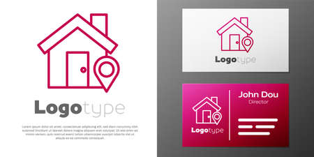 Logotype line Map pointer with house icon isolated on white background. Home location marker symbol.