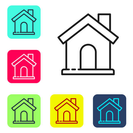 Black line House icon isolated on white background. Home symbol. Set icons in color square buttons. Vector Illustration Illustration