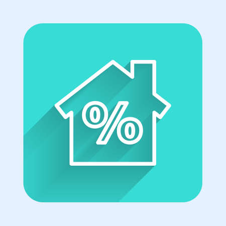 White line House with percant discount tag icon isolated with long shadow. Real estate home. Credit percentage symbol. Green square button. Vector Illustration
