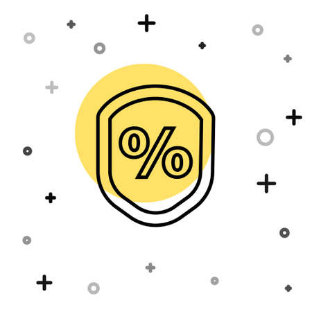 Black line Loan percent icon isolated on white background. Protection shield sign. Credit percentage symbol. Random dynamic shapes. Vector Illustration Stock Illustratie