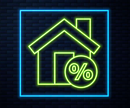 Glowing neon line House with percant discount tag icon isolated on brick wall background. House percentage sign price. Real estate home. Vector Illustration