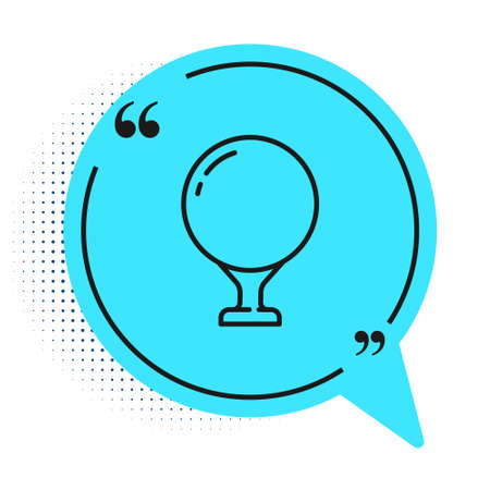 Black line Golf ball on tee icon isolated on white background. Blue speech bubble symbol. Vector Illustration