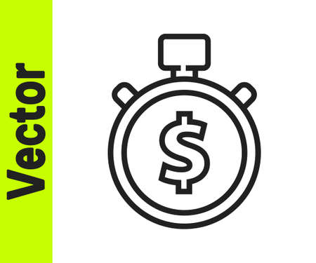 Black line Time is money icon isolated on white background. Money is time. Effective time management. Convert time to money. Stopwatch. Vector Illustration