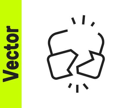 Black line Broken or cracked lock icon isolated on white background. Unlock sign. Vector Illustration Stock Illustratie