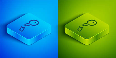 Isometric line Broken key icon isolated on blue and green background. Square button. Vector Illustration Stock Illustratie
