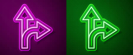 Glowing neon line Road traffic sign. Signpost icon isolated on purple and green background. Pointer symbol. Isolated street information sign. Direction sign. Vector Illustration